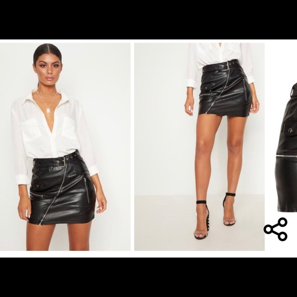 3b83e8e76 PrettyLittleThing Skirts   Black Faux Leather Biker Belted Mini ...